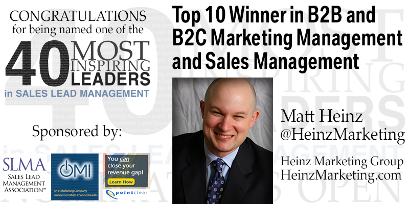 Top 10 of 40 Most Inspiring Leaders - Sales Lead Management Association